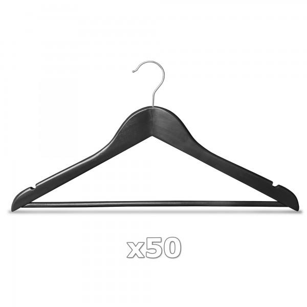 50 Stück Kleiderbügel Holz schwarz mit Hosenstange