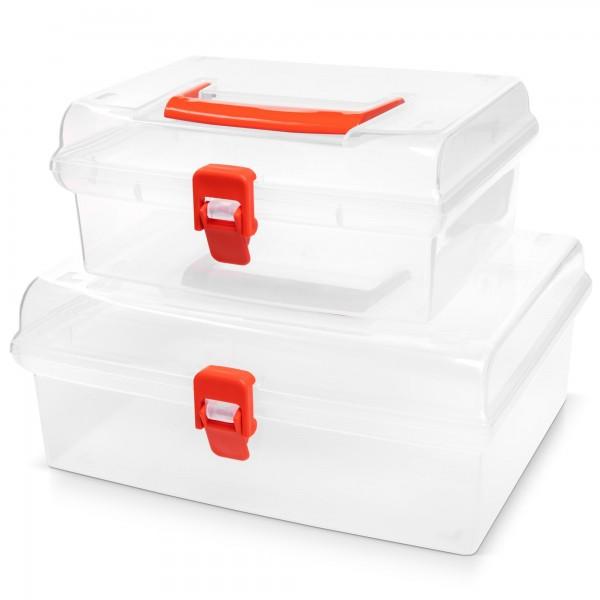 2 in 1-Set Kunststoff Aufbewahrungsboxen mit Deckel - transparent - 2 Größen