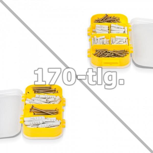 170 tlg. Holzschrauben & Dübel Set in Sortimentsbox - 10 Fächer