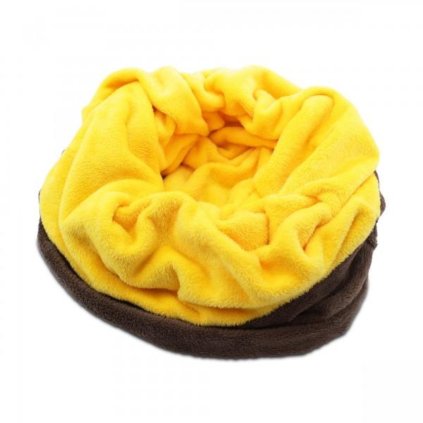 3in1 Decke XXL - Schlafsack - Kissen für Hunde - Fleece - Braun + Gelb