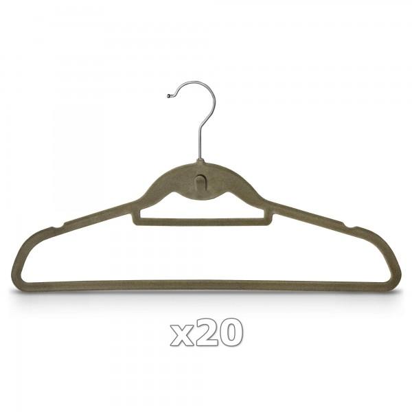 20 Stück - Kleiderbügel mit Samt überzogen & Hosenstange