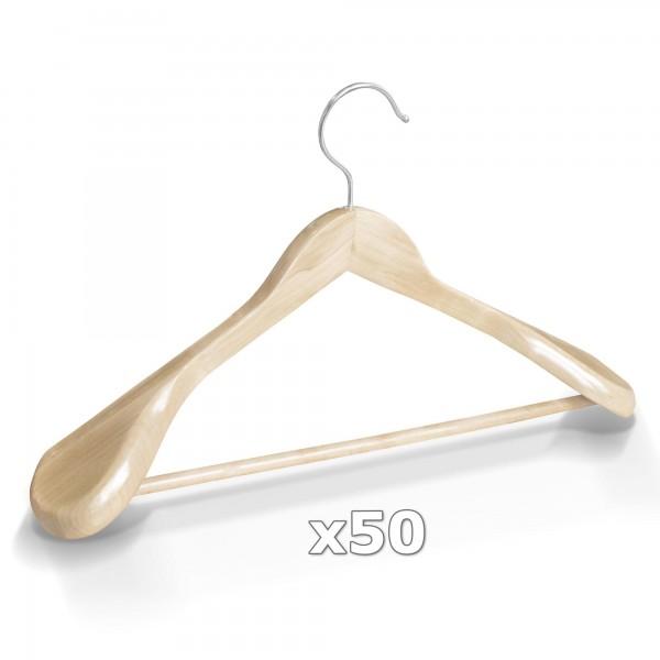 50 Stück Kleiderbügel Holz breite Schulterauflage mit Hosenstange - Natur