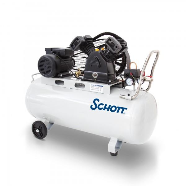 Schott Druckluft Kompressor 100 L - 2200 W - Riemen - 2 Zylinder - Bedienhebel