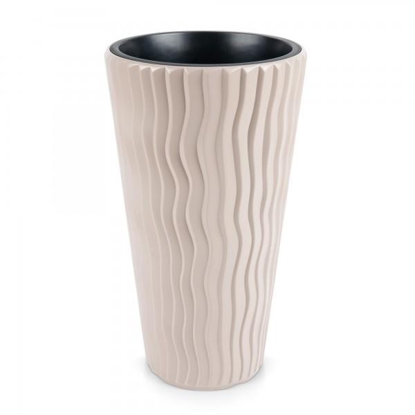 Kunststoff Blumentopf Wüstensand schmal + Einsatz - mocca Ø 349 mm