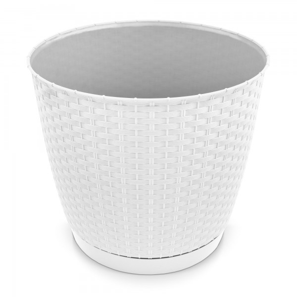 Kunststoff Blumentopf Rattan-Optik weiß Ø 250 mm + Untersetzer