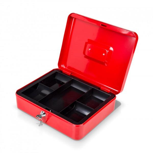 Geldkassette rot mit Münzeinsatz + 2 Schlüssel - 25 x 18 x 9 cm