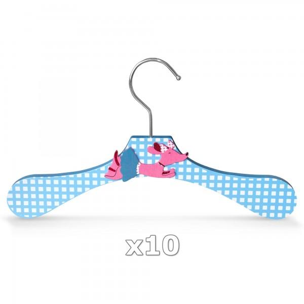 10 Stück - Kinder-Kleiderbügel aus Holz - Motiv Dackel