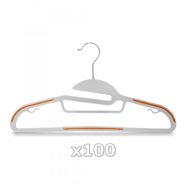 100 Stück - Kleiderbügel Kunststoff Anti-rutsch / extra dünn - Grau / Orange