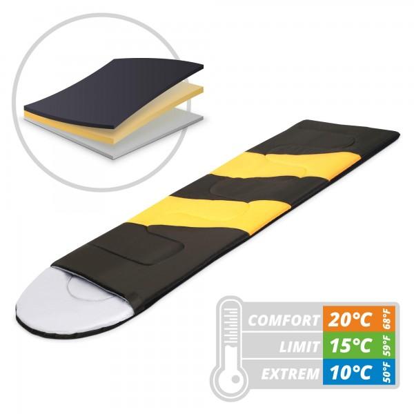 Schlafsack 220 x 75 cm - gelb/schwarz - bis 10 °C