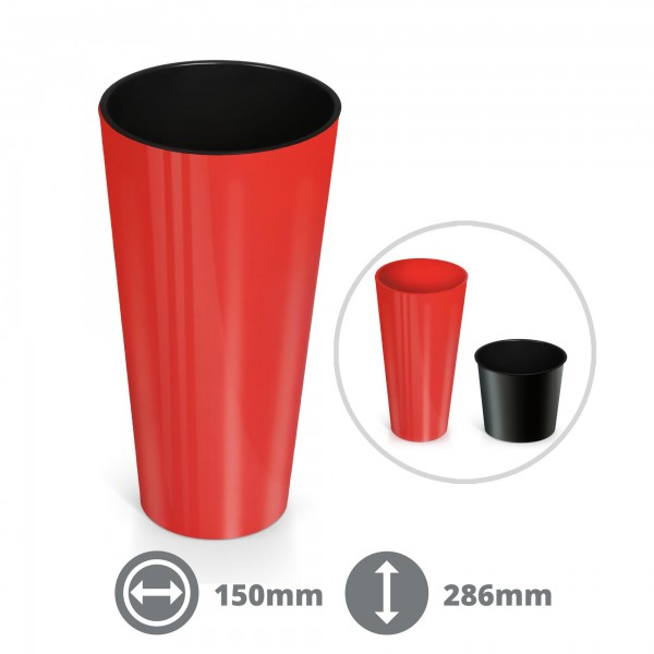 28,5 cm Pflanzkübel Slim - rot glänzend inkl. Einsatz