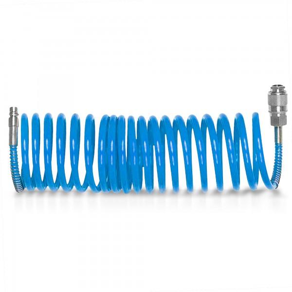 5 m Druckluft Spiralschlauch 6mm mit Schnellkupplung