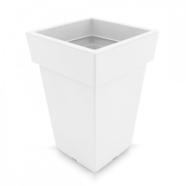 Kunststoff Blumentopf quadratisch - weiß - Höhe 439 mm