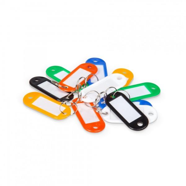 12 Stück Schlüsselschilder bunt mit Beschriftungsfeld