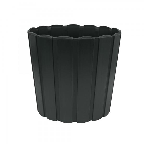 Kunststoff Blumentopf mit Brettmuster - 285 mm Durchmesser - anthrazit