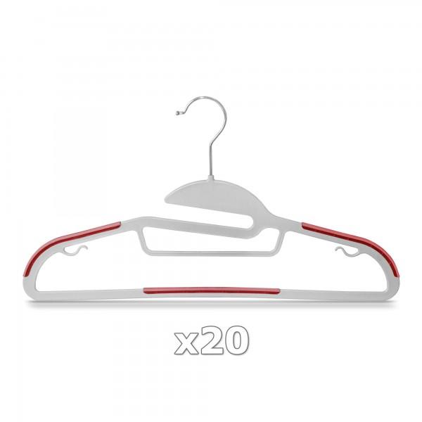20 Stück - Kleiderbügel Kunststoff Anti-rutsch / extra dünn - Grau / Rot