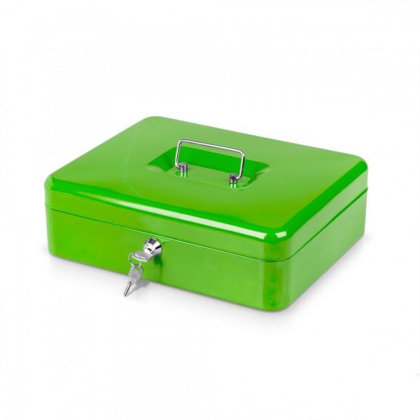Geldkassette grün mit Münzeinsatz + 2 Schlüssel - 30 x 24 x 9 cm