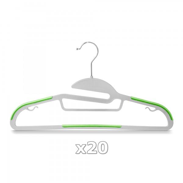 20 Stück - Kleiderbügel Kunststoff Anti-rutsch / extra dünn - Grau / Grün