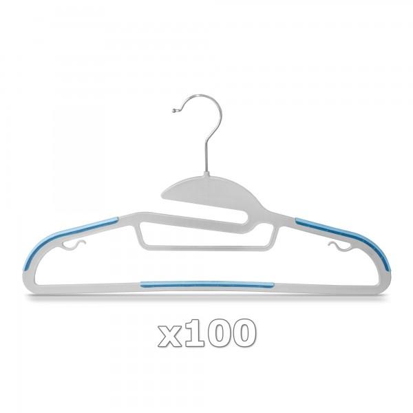 100 Stück - Kleiderbügel Kunststoff Anti-rutsch / extra dünn - Grau / Blau