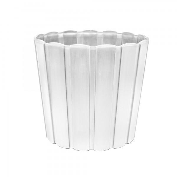 Kunststoff Blumentopf mit Brettmuster - 144 mm Durchmesser - weiß