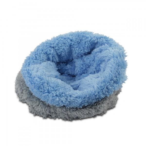 3in1 Decke Deluxe - Schlafsack - Kissen für Tierbabys - Fleece - Grau + Hellblau