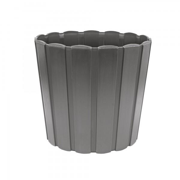 Kunststoff Blumentopf mit Brettmuster - 120 mm Durchmesser - grau