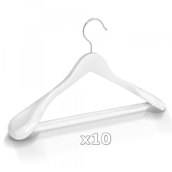 10 Stück Kleiderbügel Holz breite Schulterauflage mit Hosenstange - Weiß