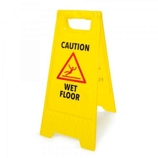 Warnschild: Vorsicht nasser Fußboden - englisch - 295 x 610 mm - gelb