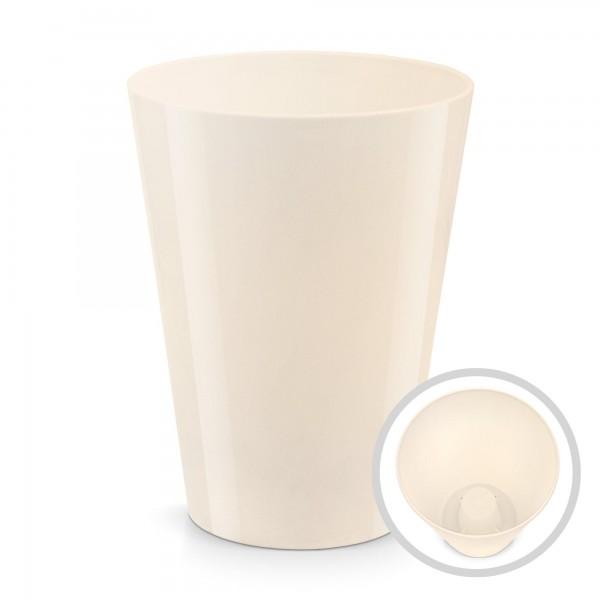 Blumentopf Coubi - Höhe 170 mm - creme glänzend - rund