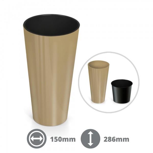 28,5 cm Pflanzkübel Slim - beige glänzend inkl. Einsatz