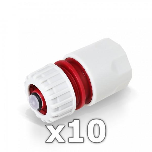 10 x Berlan Schlauchstück 1/2'' Zoll mit Wasserstop -RED LINE-