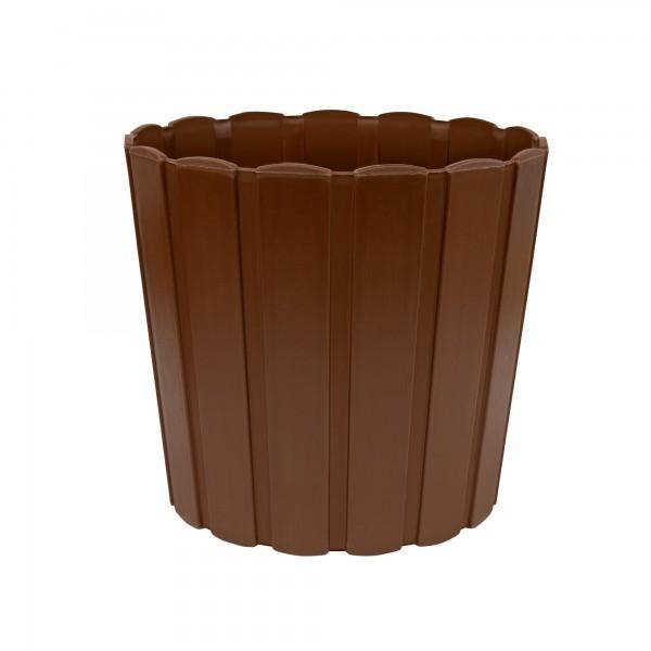 Kunststoff Blumentopf mit Brettmuster - 285 mm Durchmesser - braun