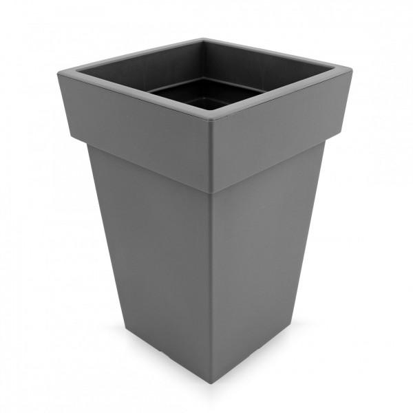 Kunststoff Blumentopf quadratisch - grau - Höhe 439 mm