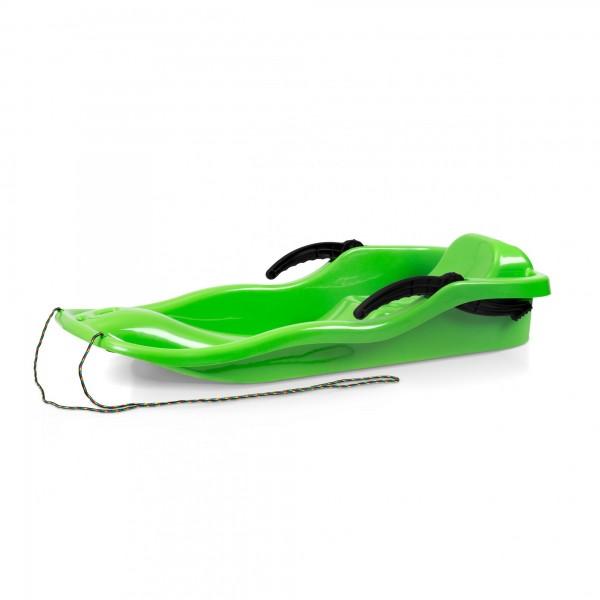 Kunststoffbob RACE grün + Bremse + Leine 40 x 87 cm