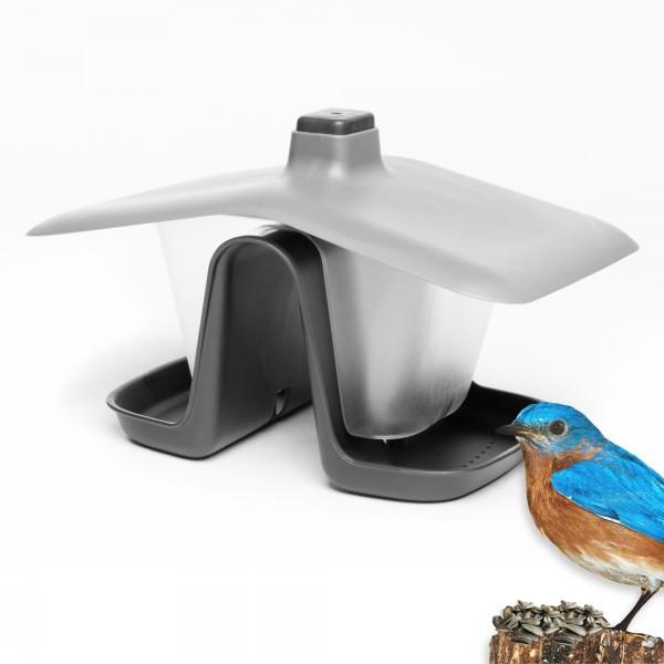 Zweikammer Vogelhäuschen mit Seil und Haken - anthrazit