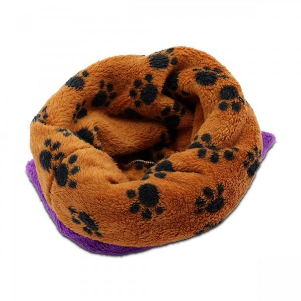3in1 Decke - Schlafsack - Kissen für Tierbabys - Fleece - Lila + Pfötchen