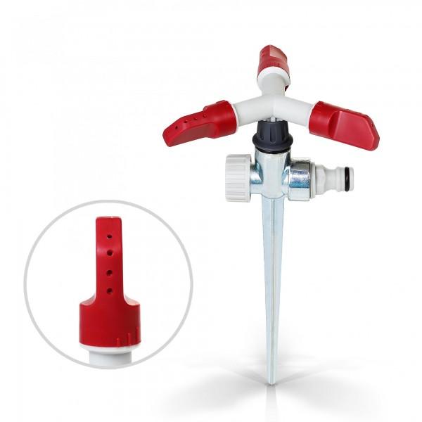 Berlan 3-Arm-Kreisregner mit Metall Erdspieß - RED LINE -