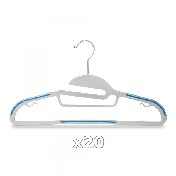 20 Stück - Kleiderbügel Kunststoff Anti-rutsch / extra dünn - Grau / Blau