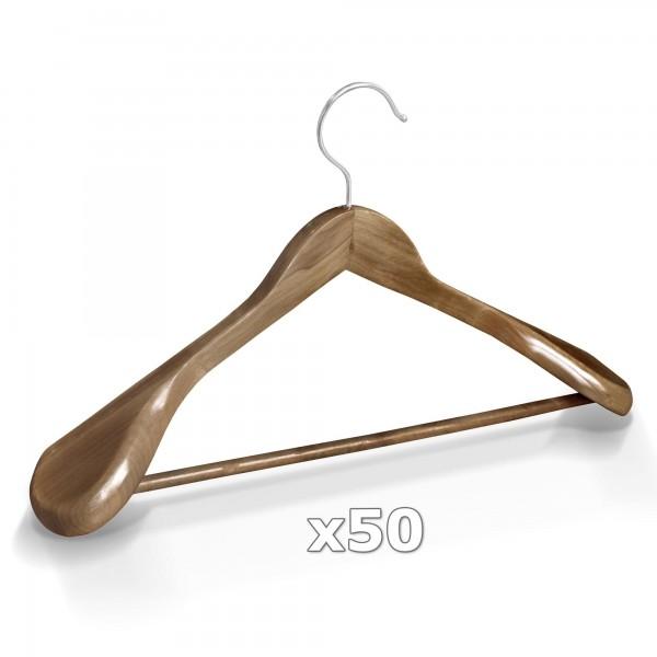 50 Stück Kleiderbügel Holz breite Schulterauflage mit Hosenstange - Antik