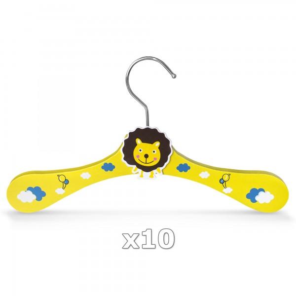 10 Stück - Kinder-Kleiderbügel aus Holz - Motiv Löwe
