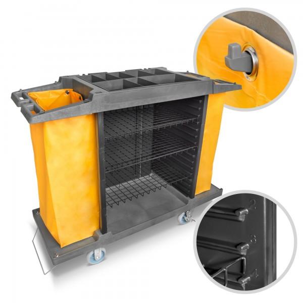 Fahrbarer Kunststoff Servicewagen - 3 verstellbare Fächer - 2 Säcke