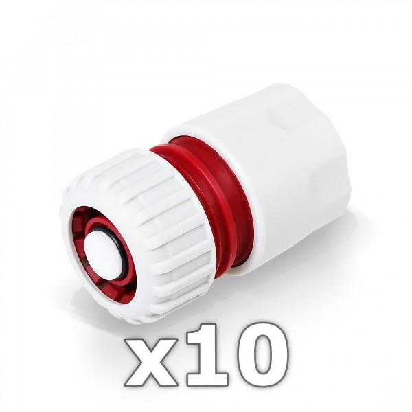 10 x Berlan Schlauchstück mit Wasserstop 3/4'' mit 3/4'' Steckverbinder RED LINE