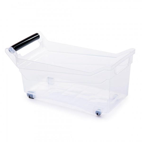 Kunststoff Aufbewahrungsbox mit Griffen und Rollen - transparent - 10 Liter