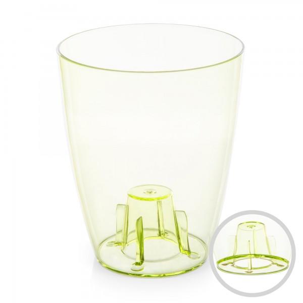 Orchideentopf - Durchmesser 132 mm - transparent / grün - rund