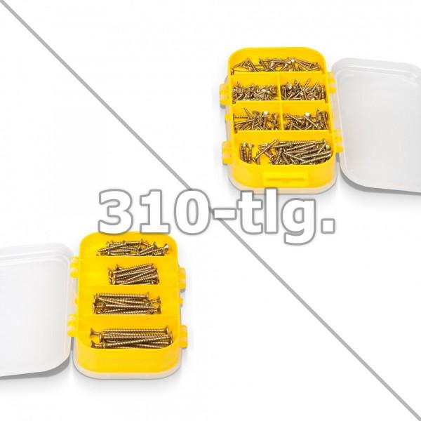 310 tlg. Holzschrauben Set in Sortimentsbox - 9 Fächer