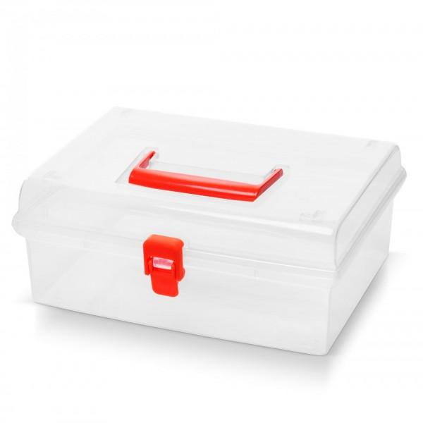 Kunststoff Aufbewahrungsbox mit Deckel - transparent - 25 x 21 x 10 cm
