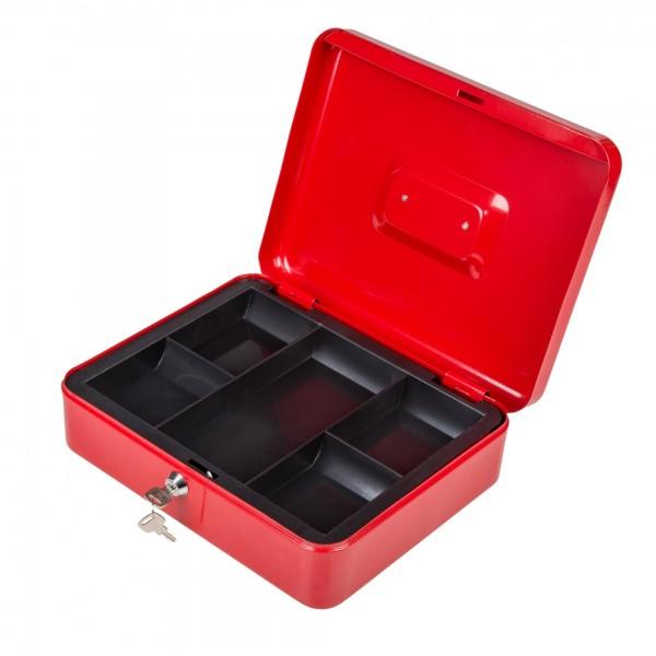 Geldkassette rot mit Münzeinsatz + 2 Schlüssel - 30 x 24 x 9 cm