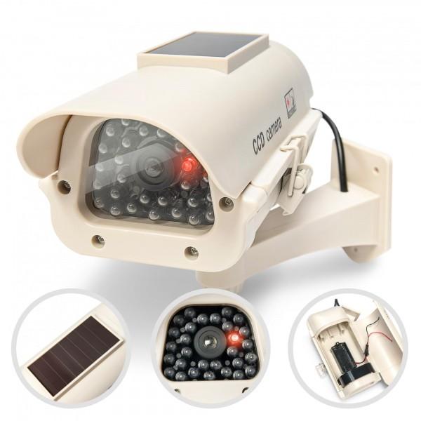 Solar CCD Überwachungskamera Attrappe mit LED Blinklicht + Halterung