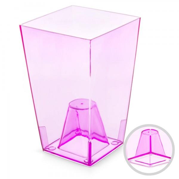 Orchideentopf - Höhe 200 mm - transparent / rosa - eckig