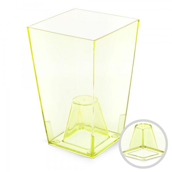 Orchideentopf - Höhe 200 mm - transparent / grün - eckig