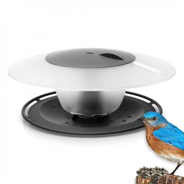 Vogelhäuschen rund mit Seil und Haken - anthrazit